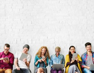 Education Friends Lifestyle Digital Device Group Concept